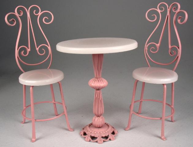 Bistro Table and 2 Chairs Set in Pink with Strawberry Ice Top and Seats Table is 2  Diameter X 2 1/4  High #BSETpink $120.00 & J. Getzan Dollhouse Miniatures Wrought Iron TablesDollhousebistro ...