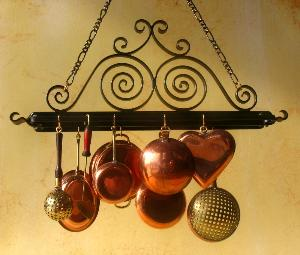 Shield Design Hanging Pot Rack This Has 1 Bar For Pots And A Top Shelf Storage 3 Wide X 2 High May Be Ordered In Any Color